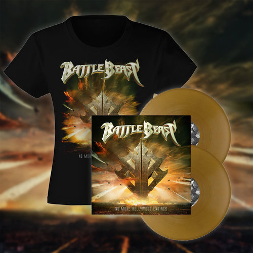Battle Beast: PRESALE No more Hollywood Endings  Bundle Tyttöpaita & Gold LP