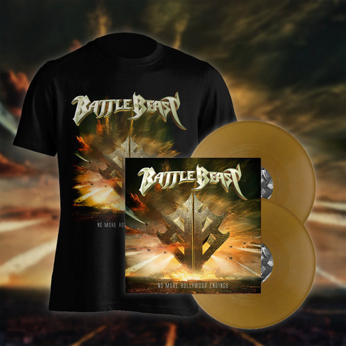 Battle Beast: PRESALE No more Hollywood Endings Bundle T-Paita  & golden LP