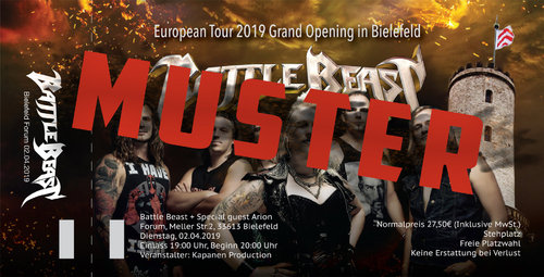 Battle Beast: Ticket Grand Opening in Bielefeld European Tour 2019