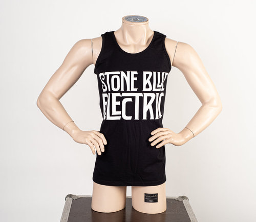 Stone Blue Electric: Bandlogo Weiß Tank Top Männer