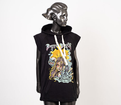 Battle Beast: Battle Bitch Woman Sleeveless Hoodie