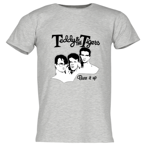 Teddy & The Tigers:  T-Shirt Burn it up Graumeliert